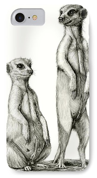 Meerkatte IPhone Case by Heidi Kriel