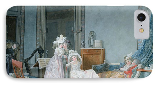 Meeting In A Salon, 1790 Gouache On Paper IPhone Case by Jean Baptiste Mallet