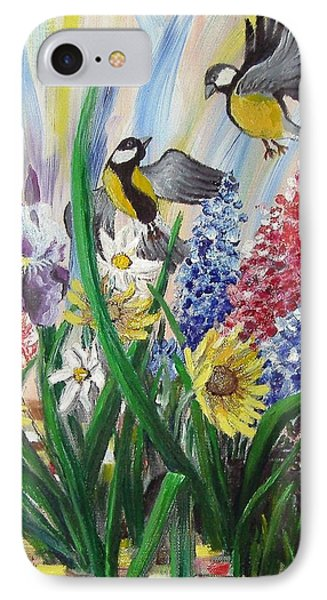 IPhone Case featuring the painting Meeting In The Garden by Nina Mitkova