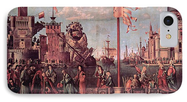 Meeting Of The Betrothed Couple And The Departure Of The   Pilgrims IPhone Case by Vittore Carpaccio