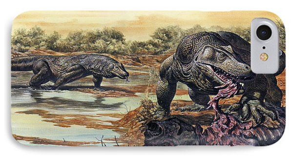 Megalania Giant Monitor Lizard Eating IPhone Case by Mark Hallett