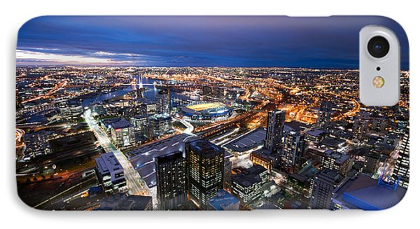 Melbourne At Night IPhone Case by Ray Warren