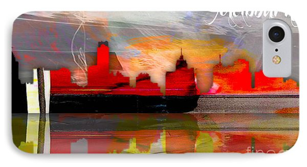 Melbourne Australia Skyline Watercolor IPhone Case by Marvin Blaine