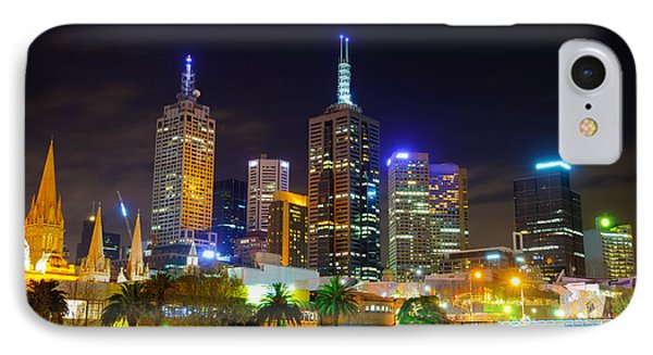 Melbourne City Skyline - Skyscapers And Lights Phone Case by David Hill