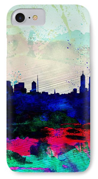 Melbourne Watercolor Skyline 2 IPhone Case by Naxart Studio