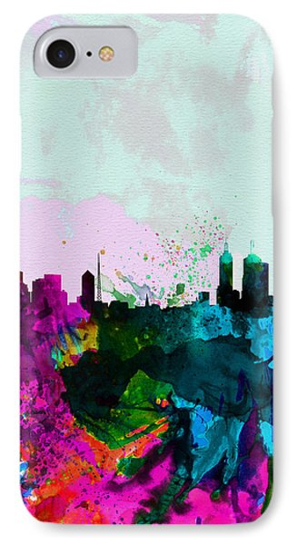 Melbourne Watercolor Skyline IPhone Case by Naxart Studio