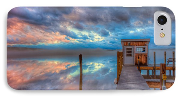 Melvin Village Marina In The Fog IPhone Case by Brenda Jacobs