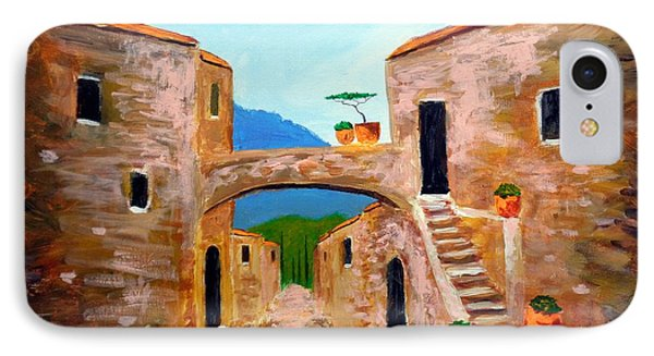 IPhone Case featuring the painting memories of Montalcino by Larry Cirigliano