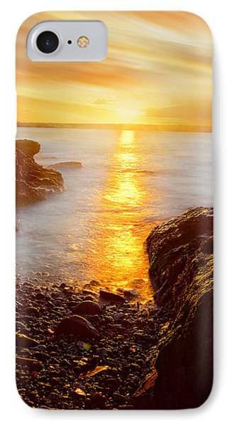 Memory Of Sunset - Rhode Island Sunset Beavertail State Park At Dusk  IPhone Case by Lourry Legarde