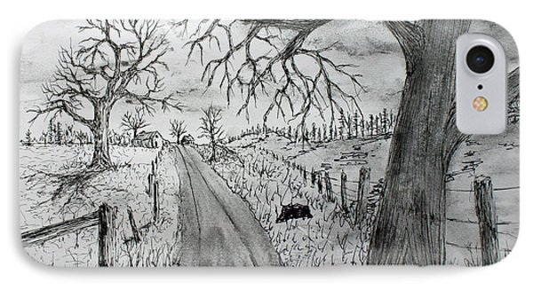 IPhone Case featuring the drawing Memory Road by Jack G  Brauer
