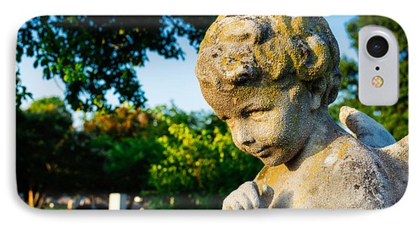 Memphis Elmwood Cemetery - Boy Angel IPhone Case by Jon Woodhams