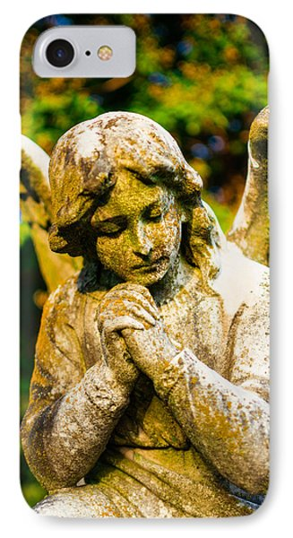 Memphis Elmwood Cemetery - Praying Angel IPhone Case by Jon Woodhams