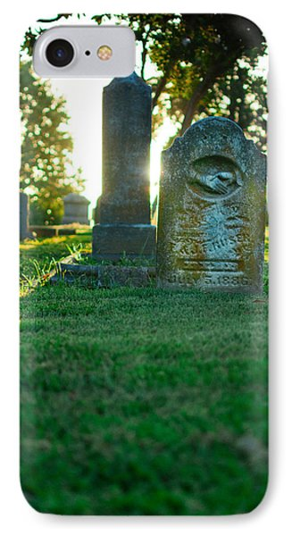 Memphis Elmwood Cemetery - Backlit Grave Stones IPhone Case by Jon Woodhams