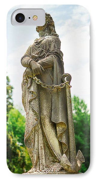 Memphis Elmwood Cemetery Monument - Woman With Chain IPhone Case by Jon Woodhams