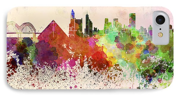 Memphis Skyline In Watercolor Background Phone Case by Pablo Romero