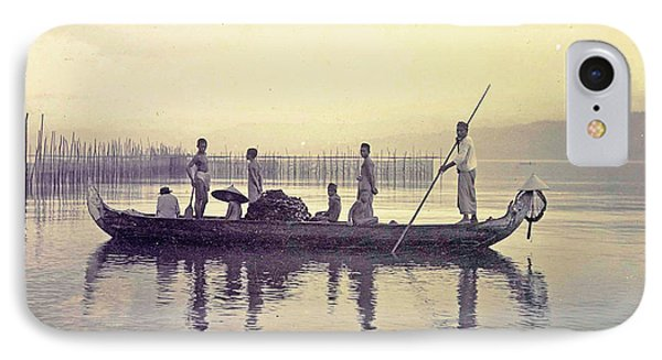 Men In A Canoe In The Bay Of Ambon, Indonesia IPhone Case by Artokoloro