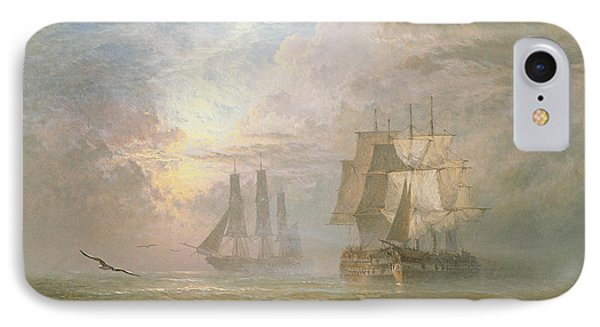Men Of War At Anchor IPhone Case by Henry Thomas Dawson