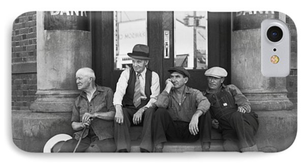 Men Sitting On Bank Steps IPhone Case by Russell Lee