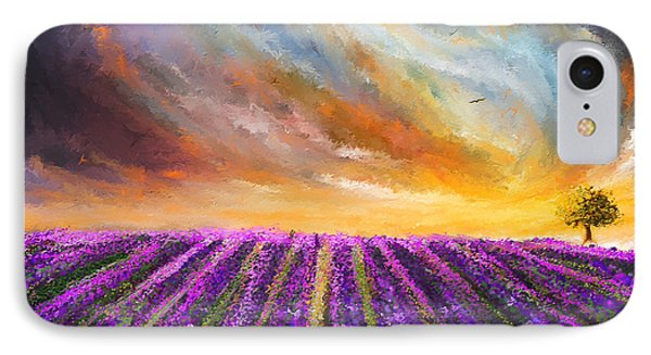 Menacing Beauty - Lavender Fields Paintings IPhone Case