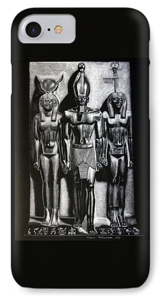 IPhone Case featuring the painting Menkaure Triad by Leena Pekkalainen