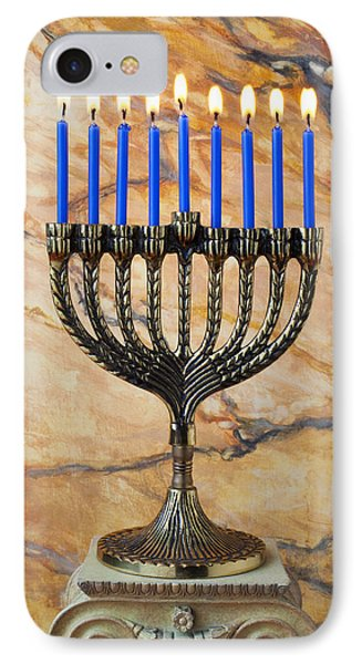 Menorah With Blue Candles IPhone Case by Garry Gay