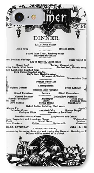 Menu Palmer House, 1885 IPhone Case