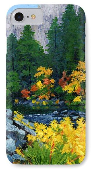 Merced River In Autumn IPhone Case by Alice Leggett