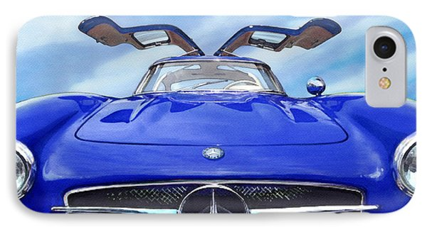 IPhone Case featuring the painting Mercedes Gullwing In Blue by Rod Seel