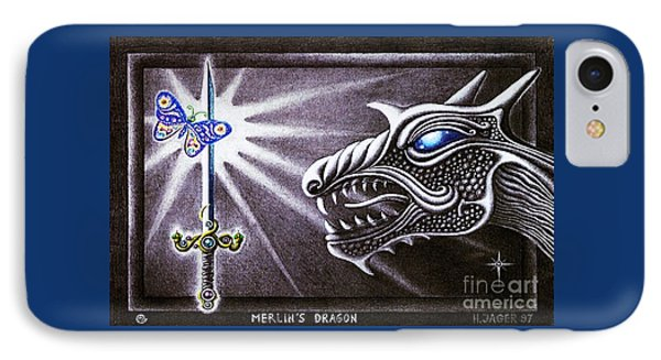 IPhone Case featuring the drawing Merlin's Dragon by Hartmut Jager