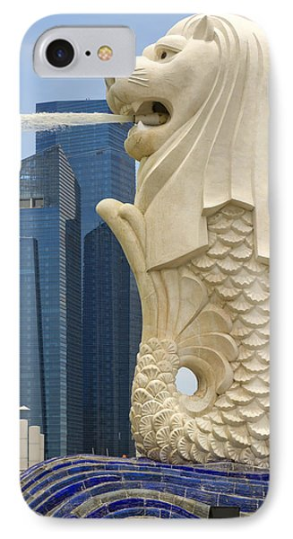 Merlion Statue By Singapore River Phone Case by David Gn