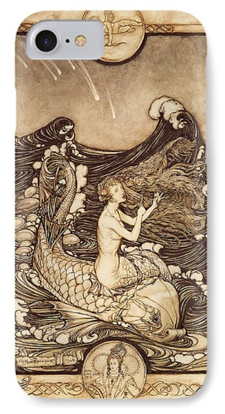 Mermaid And Dolphin From A Midsummer Nights Dream IPhone Case by Arthur Rackham