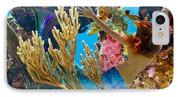 IPhone Case featuring the photograph Mermaid And Snorkeler by Paula Porterfield-Izzo