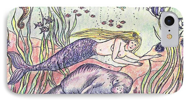 Mermaid And The Manatee IPhone Case by Nancy Taylor