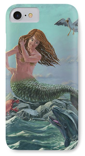 Mermaid On Rock Phone Case by Martin Davey