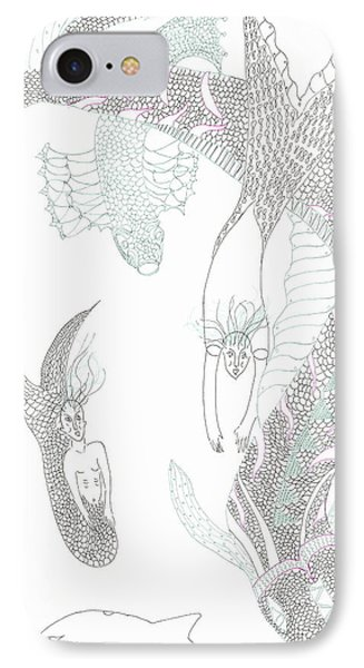Mermaids And Sea Dragons IPhone Case by Helen Holden-Gladsky