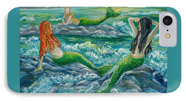 Mermaids On The Rocks IPhone Case by Julie Brugh Riffey