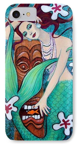 Mermaid's Tiki God IPhone Case by Sue Halstenberg