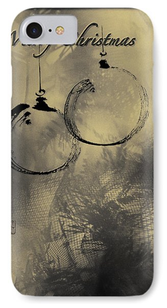 IPhone Case featuring the mixed media Merry Christmas Card by Peter v Quenter