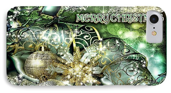 Merry Christmas Green Phone Case by Mo T