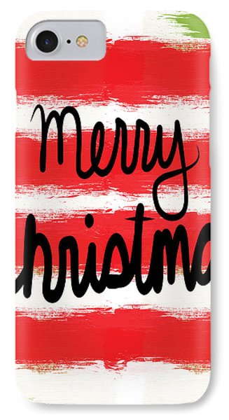 Merry Christmas- Greeting Card IPhone Case by Linda Woods