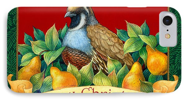 Merry Christmas Partridge Phone Case by Randy Wollenmann