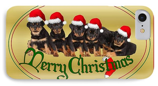 Merry Christmas Rottweiler Puppies Greeting Card Phone Case by Tracey Harrington-Simpson