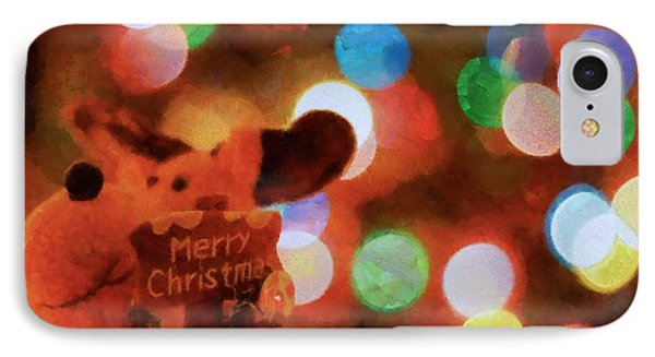 Merry Christmas Sign And Lights IPhone Case by Dan Sproul