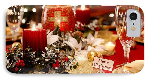 Merry Christmas Table IPhone Case by Pattie Calfy