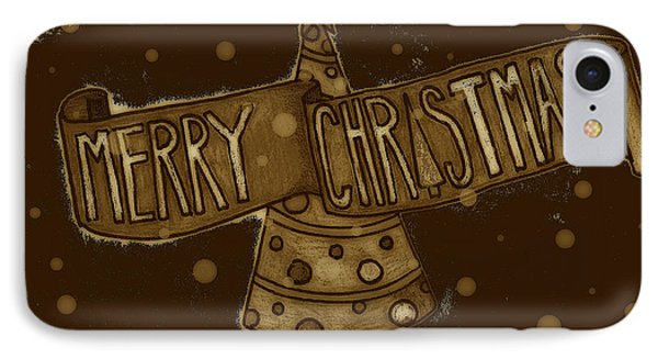 Merry Sepia Christmas Phone Case by Jame Hayes
