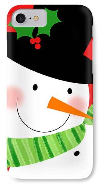 Merry Snowman IPhone Case by Valerie Drake Lesiak