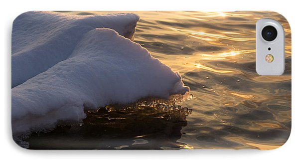 Merry Sunset Ice - The Icy Snowbanks Reflecting In The Lake IPhone Case