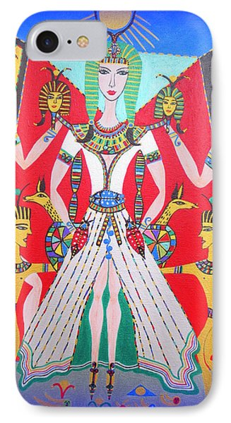 IPhone Case featuring the painting Metamorphosis Of Melisa Into Nefertiti by Marie Schwarzer