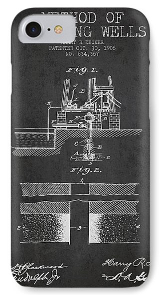 Method Of Drilling Wells Patent From 1906 - Dark IPhone Case by Aged Pixel
