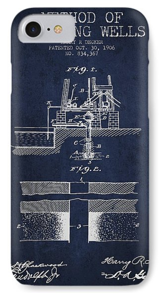 Method Of Drilling Wells Patent From 1906 - Navy Blue IPhone Case by Aged Pixel